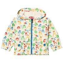 Tootsa MacGinty Cream All Over Frogs Print Packaway Hooded Jacket Cream