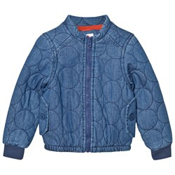 Tootsa MacGinty Blue Denim Padded Jacket with Rainbow and Bird Applique