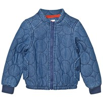 Tootsa MacGinty Blue Denim Padded Jacket with Rainbow and Bird Applique Dark Denim