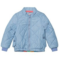 Tootsa MacGinty Blue Denim Padded Jacket with Rainbow and Sun Applique Light Denim