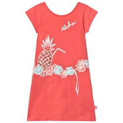 Billieblush Coral Jersey Dress with Sequin Pineapple Print