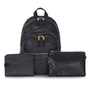 Image of Tiba + Marl Black Elwood Quilted Backpack Changing Bag One Size (690758)