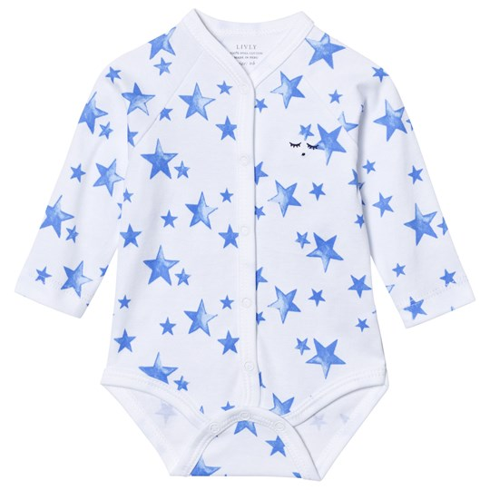 Livly Long Sleeve Baby Body Neon Blue Stars Neon Blue Stars