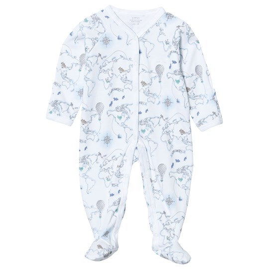 Livly Simplicity Footed Baby One-Piece Blue World Map Blue World Map