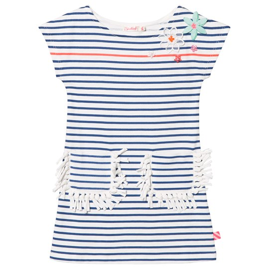 Billieblush Blue Stripe Dress with Flower Applique and Fringe Pockets 832