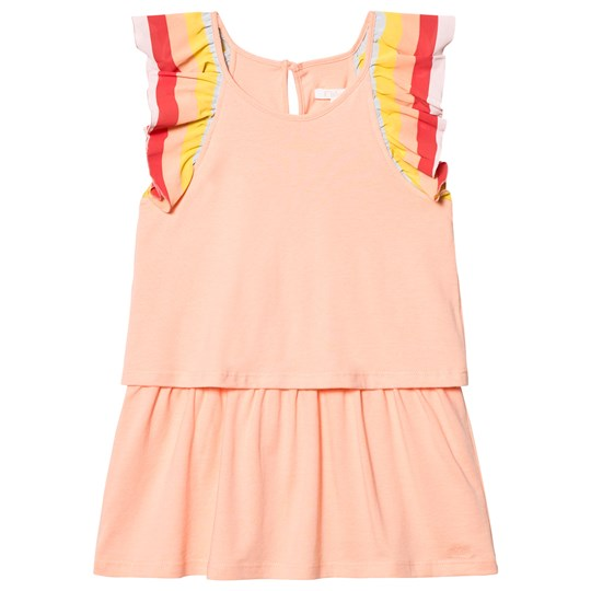 Chloé Coral Rainbow Frill Sleeve Dress 424