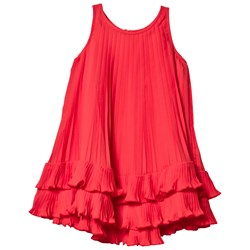 Lands' End Red Pleated Trapeze Dress