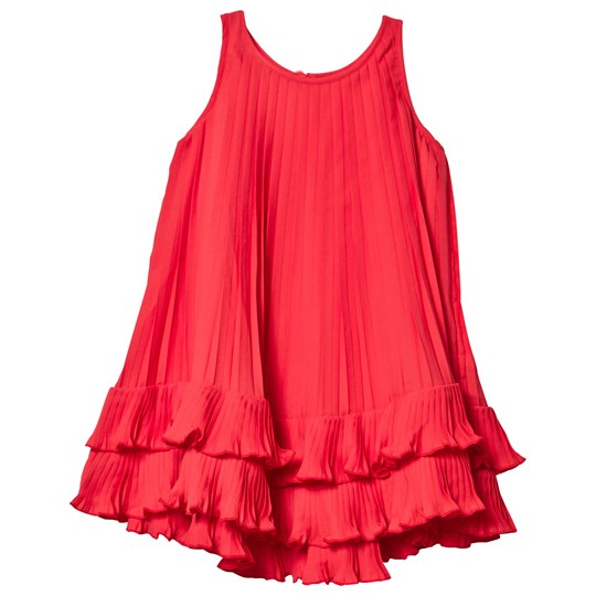 Lands' End Red Pleated Trapeze Dress CRIMSON DAWN