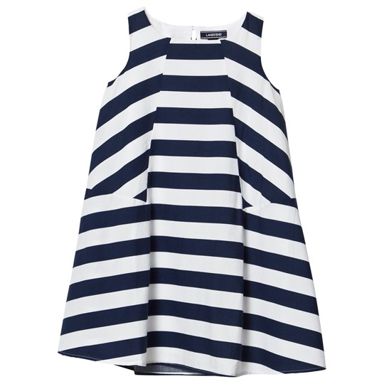 Lands' End Multi Stripe Trapeze Woven Dress PAINTED MULTI STRIPE
