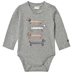 Hust&Claire Baby Body Dogs Ash Melange