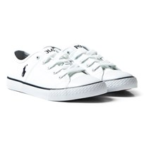 Ralph Lauren White Dyland Lace Trainers White and Navy