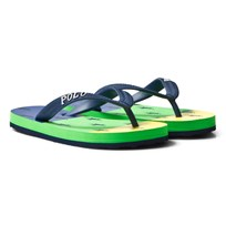 Ralph Lauren Amino Stripe Flip Flops Green Yellow Navy/Orange