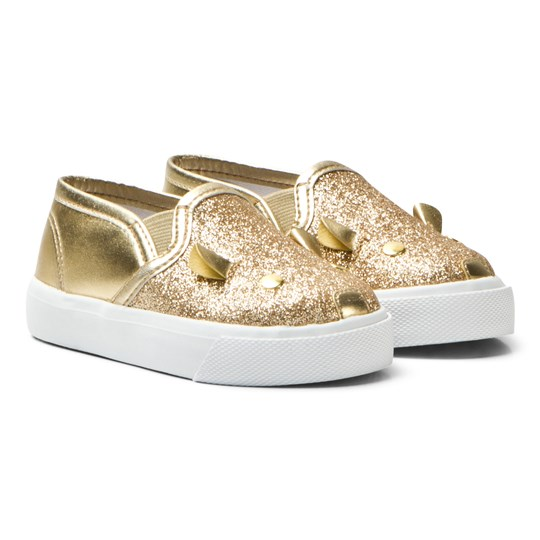 Little Marc Jacobs Gold Glitter Mouse Slip Ons 593
