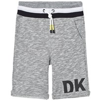 DKNY Grey Marl Sweat Shorts with Rubberised Logo A69