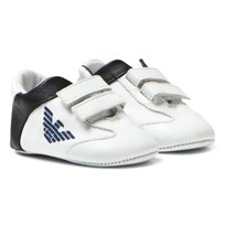 Armani Junior White and Navy Eagle Branded Crib Trainers White