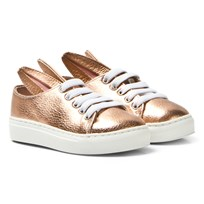 Minna Parikka Rose Gold Metallic Leather Bunny Trainers Rose Gold