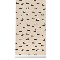 ferm LIVING Rabbit Wallpaper - Rose Multi