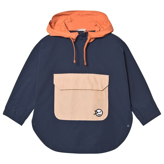 Wynken Navy Colour Block Shower Proof Hooded Poncho NAVY CORAL