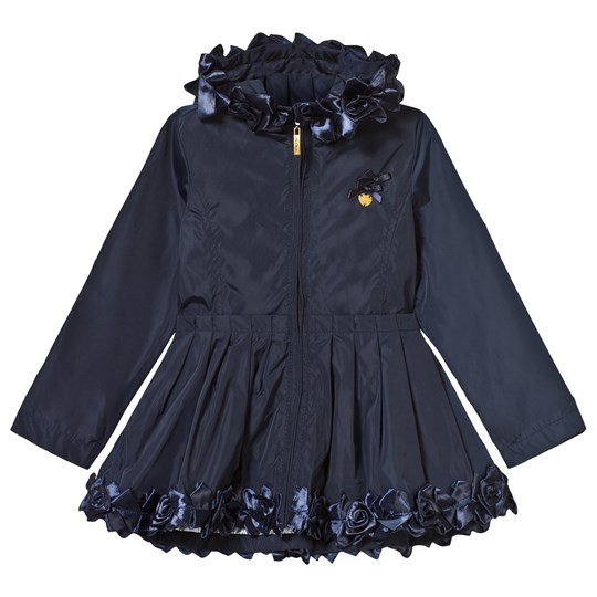 Le Chic Navy Ruffle and Rosette Hooded Coat 190