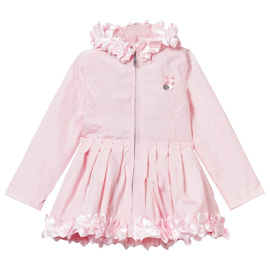 Le Chic Pink Ruffle and Rosette Hooded Coat 205