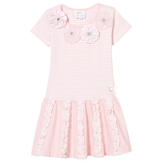 Le Chic Pale Pink and Stripe Jersey Dress with Rosettes, Diamantes and Ruffle Detail 205