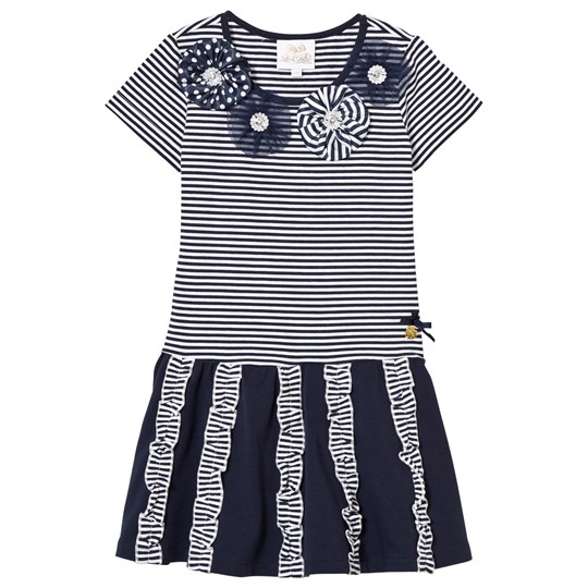 Le Chic Navy and Stripe Jersey Dress with Rosettes, Diamantes and Ruffle Detail 190