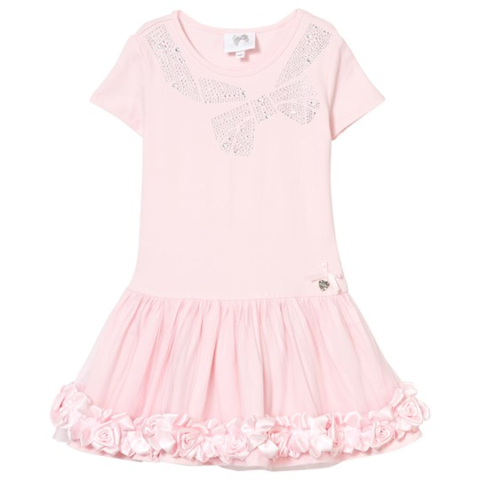 Le Chic Pale Pink Jersey and Tulle and Rosette Dress with Gold Studded Bow 205