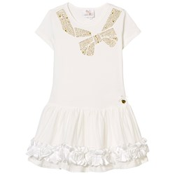 Le Chic White Jersey and Tulle and Rosette Dress with Gold Studded Bow