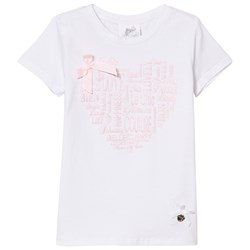 Le Chic White and Pink Metallic Heart Print and Bow Tee