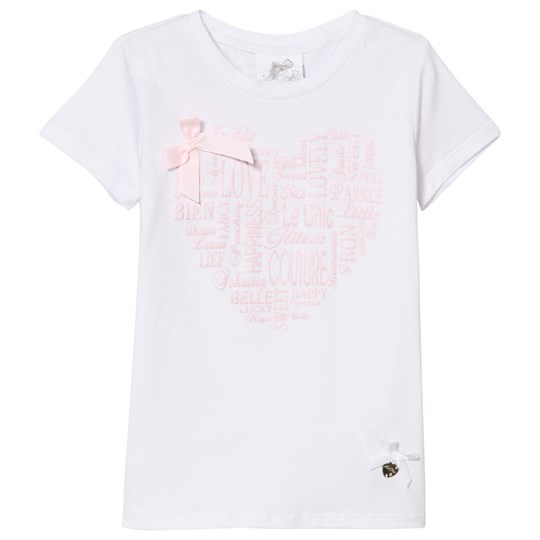 Le Chic White and Pink Metallic Heart Print and Bow Tee 001/205