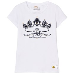 Le Chic White Flocked Crown and Jewel Print Tee