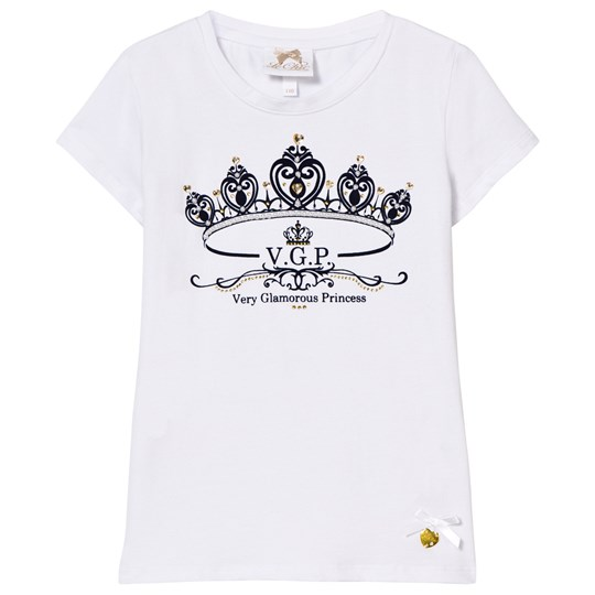 Le Chic White Flocked Crown and Jewel Print Tee 001/190