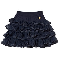 Le Chic Navy Ruffle Tulle Skirt with Heart Print