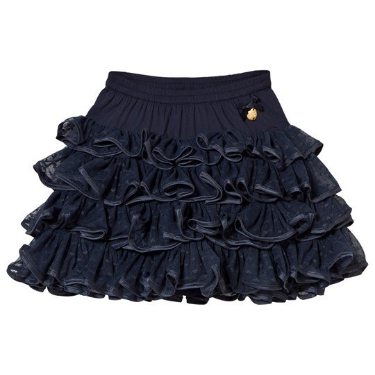 Le Chic Navy Ruffle Tulle Skirt with Heart Print 190