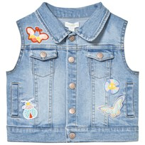 Margherita Kids Denim Sleeveless Jacket with Butterfly Appliques Blue