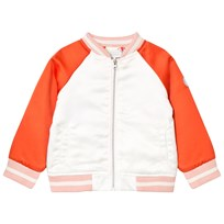 Margherita Kids Red and Cream Satin Butterfly Bomber White Red