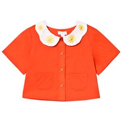 Margherita Kids Coral Petal Embroidered Collar Blouse