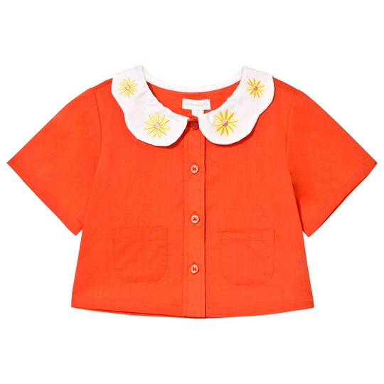 Margherita Kids Coral Petal Embroidered Collar Blouse Red