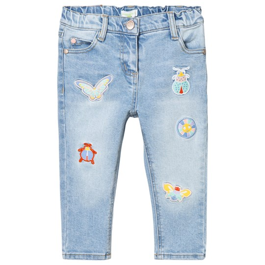 Margherita Kids Blue Butterfly Applique Denim Jeans Blue