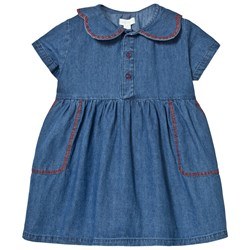 Margherita Kids Blue Chambray Dress with Contrast Stitching