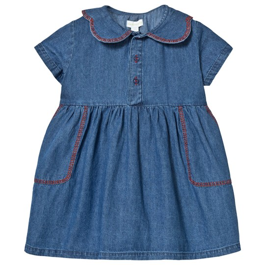 Margherita Kids Blue Chambray Dress with Contrast Stitching Blue