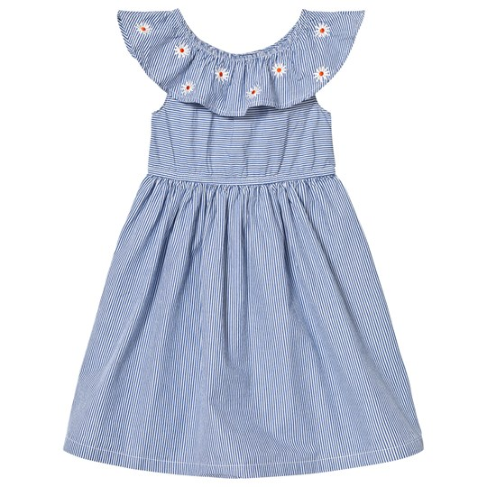 Margherita Kids Blue Stripe Frill Embroidered Dress Blue/White
