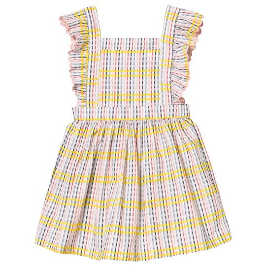 Margherita Kids Multi Check Pinafore Dress with Frill and Ric Rac Detail White Multi