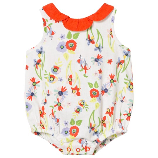 Margherita Kids Multi Floral Bubble with Petal Collar White Multi