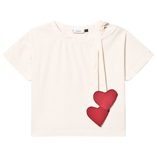 Wynken Ecru with Red Tie Heart Tee ECRU DEEP RED
