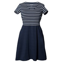 Boob Simone Dress Wide Skirt Stripe Midnight Blue/Off White M Blue/Offwhite