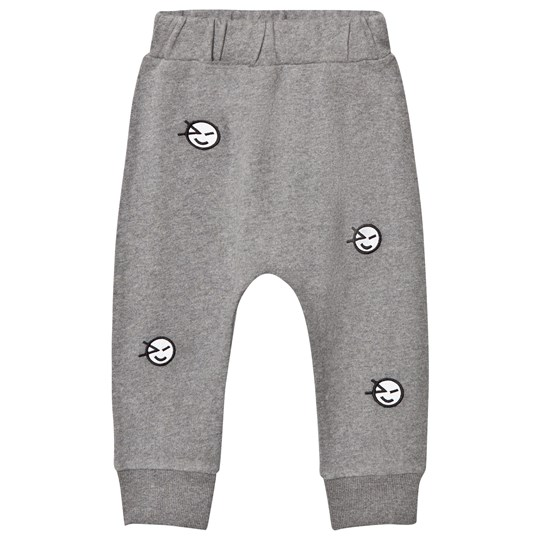 Wynken Grey All Over Wink Face Embroidered Sweat Pant GREY ECRU