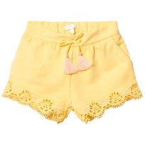 Chloé Yellow Broderie Anglaise Hem Shorts 521