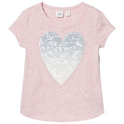 GAP Embellished Graphic Short Sleeve Tee Pink Heather