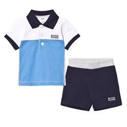 BOSS Blue and White Jersey Polo and Shorts Set
